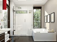 White Bathroom With Hardwood Floor