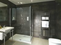 Black Bathroom With Towel Rail